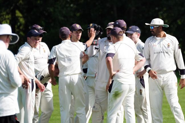 Minster Lovell celebrate a wicket in their Cherwell League Division 2 game against Bicester & North Oxford Picture: Ric Mellis