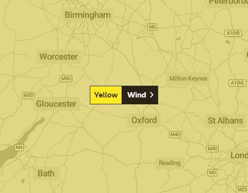Bicester Advertiser: Yellow weather warning for wind covering Oxfordshire. Picture via Met Office