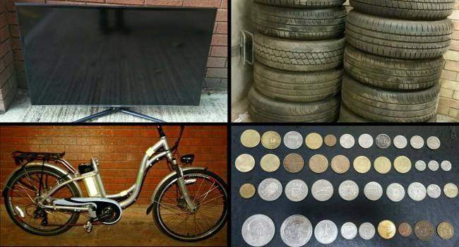 Thames Valley Police are trying to sell some commemorative coins, some tyres, a 3D TV and an electric bike on eBay. Pic from Thames Valley Police eBay account