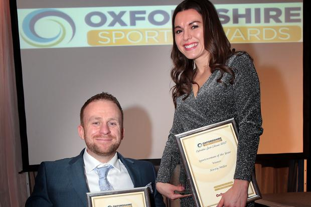 Kirsty Miller (sportswoman of the year) and Jack Cummins (disability sports winner) show off their trophies after the 2017 awards ceremony   Picture: Ric Mellis