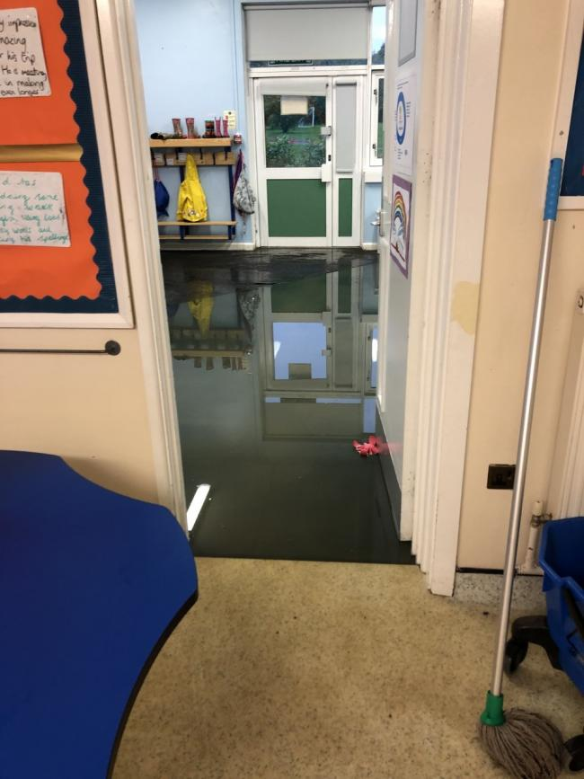 Flooding at Cutteslowe Primary School after heavy rain. Picture: Jon Gray