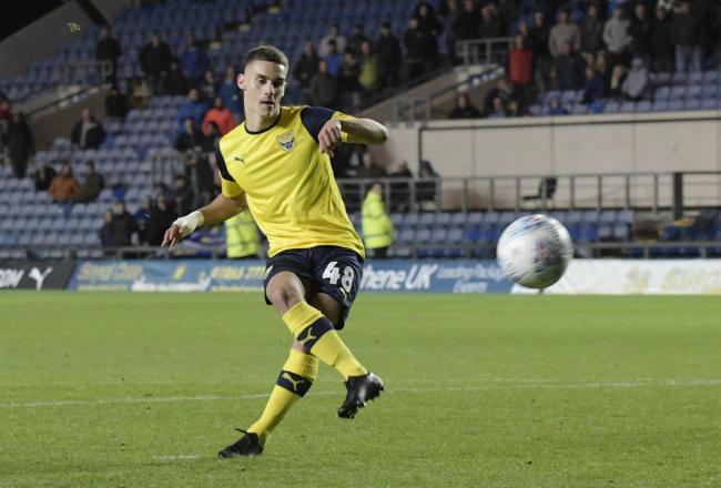 Fabio Sole scores his penalty in the shoot-out during his Oxford United debut against Portsmouth  Picture: David Fleming