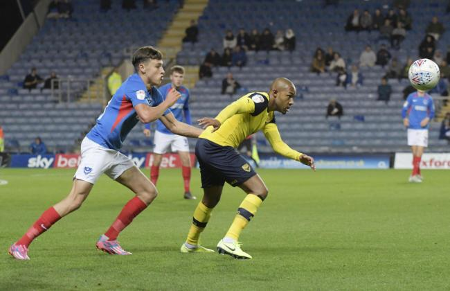 Rob Hall in action for Oxford United against Portsmouth on Tuesday night   Picture: David Fleming