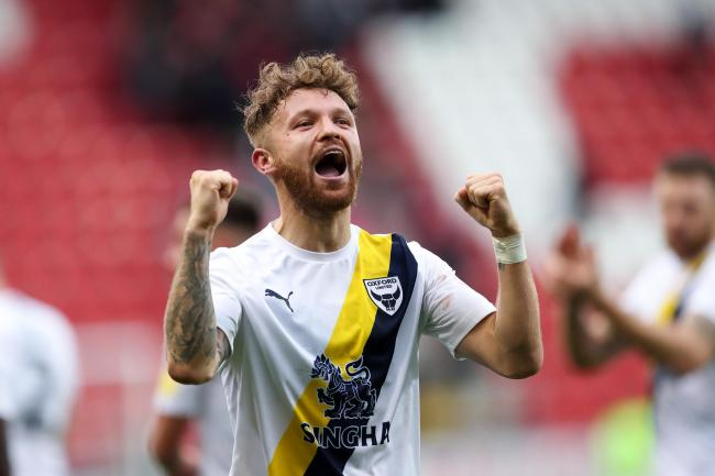 Matty Taylor celebrates at full time after his goal gave Oxford United victory at RotherhamPicture: James Williamson