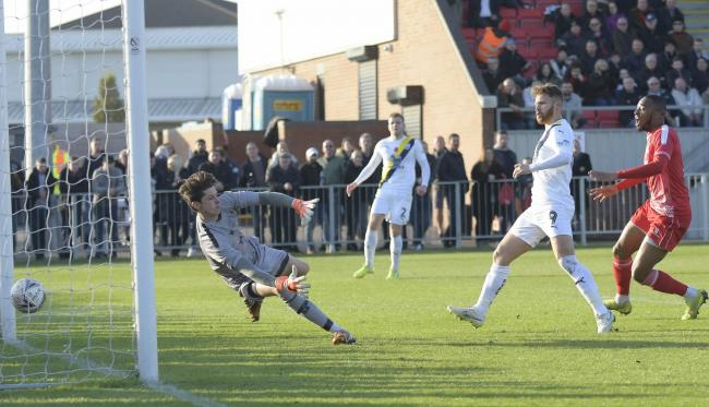 Matty Taylor had a goal disallowed for Oxford United in the first half at Hayes & Yeading United  Picture: David Fleming