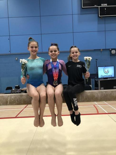 From left: Olivia Kenny, Tiegan Trafford and Corinna Gooderham of Abingdon Gymnastics Club at the British Gymnastics age group finals Picture: Nikki Woodward