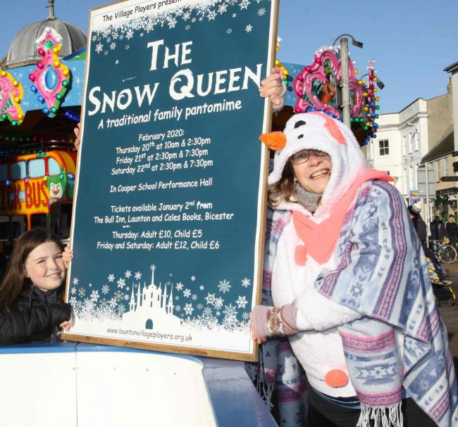 The Snow Queen is the Launton Village Pantomime for February 2020. At Bicester Lights Switch On, Lesley Watson-Burn who plays the lead role, and Leah Hood took a poster to the Ice Rink for a photo to launch the Panto. Pic by Barry Miller.