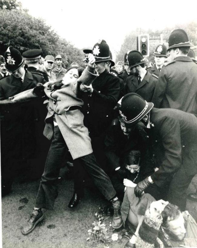 Dozens of protestors were arrested as part of a peace protest in May 1983