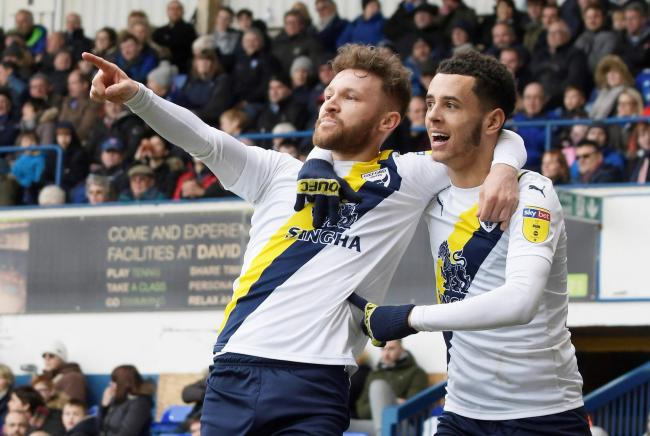 Matty Taylor (left) celebrates his goal for Oxford United at Ipswich Town   Picture: David Fleming
