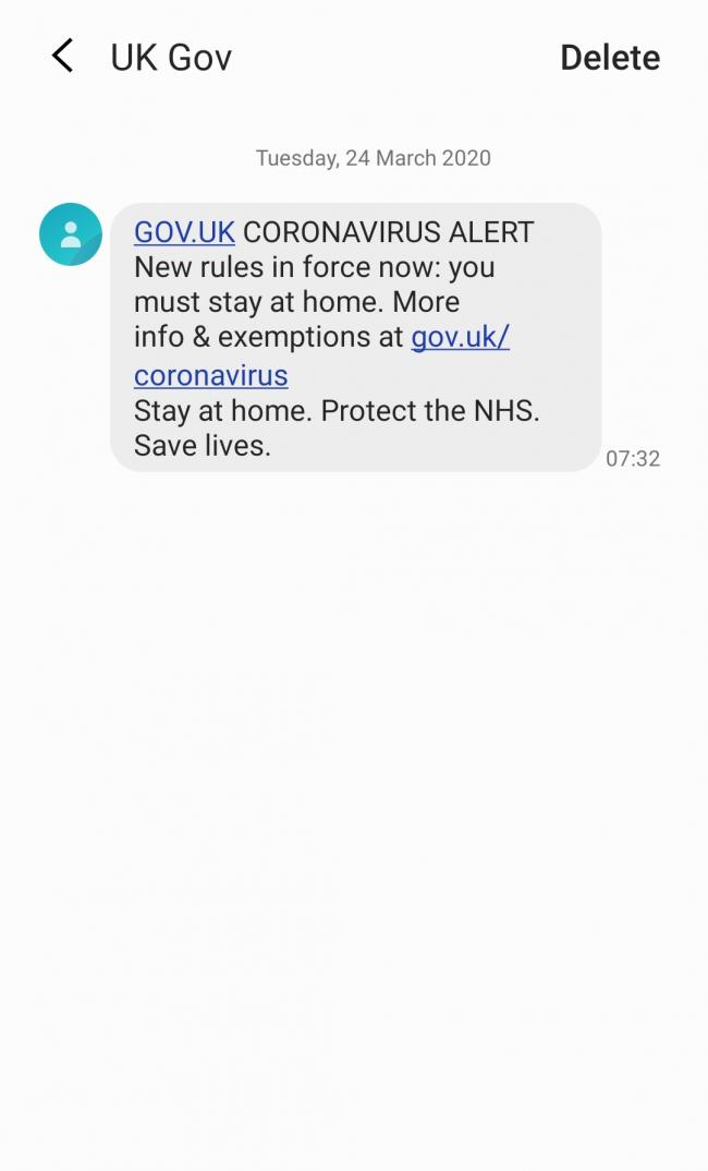 Coronavirus text from government
