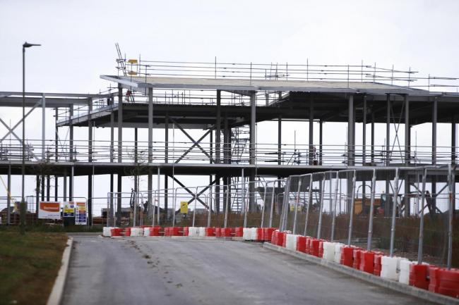 The skeleton of the new school at Crab Hill, Wantage, last year as it was being built. Picture: Ed Nix.