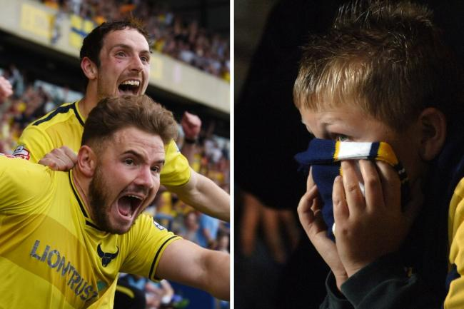 Danny Hylton and Alex MacDonald celebrate promotion in 2016, while one young fan watches the penalty shoot-out defeat to Exeter City nine years earlier