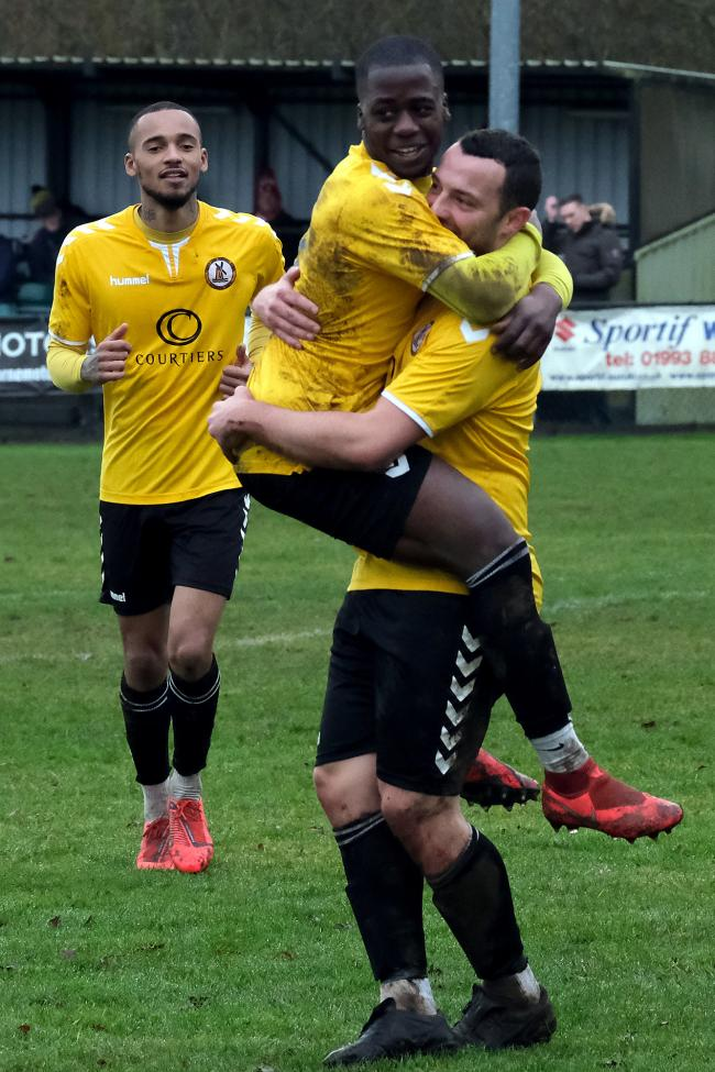 George Seacole celebrates scoring for North Leigh  Picture: Ric Mellis