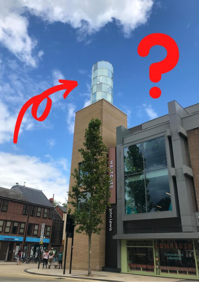 What is the glass chimney on the Westgate Centre?