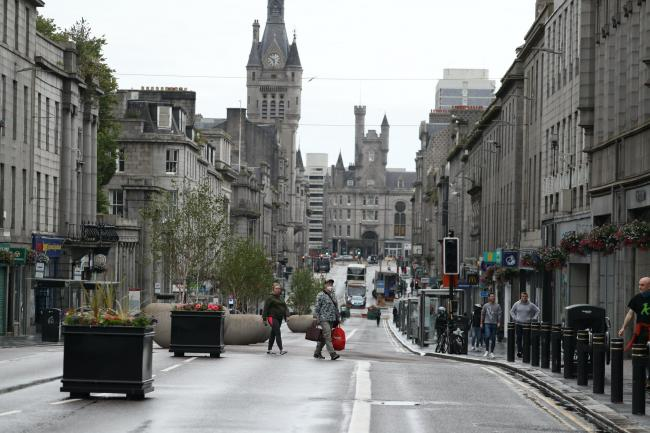 Union Street in Aberdeen, after bars, cafes and restaurants closed following the reimposition of lockdown restrictions (Andrew Milligan/PA)