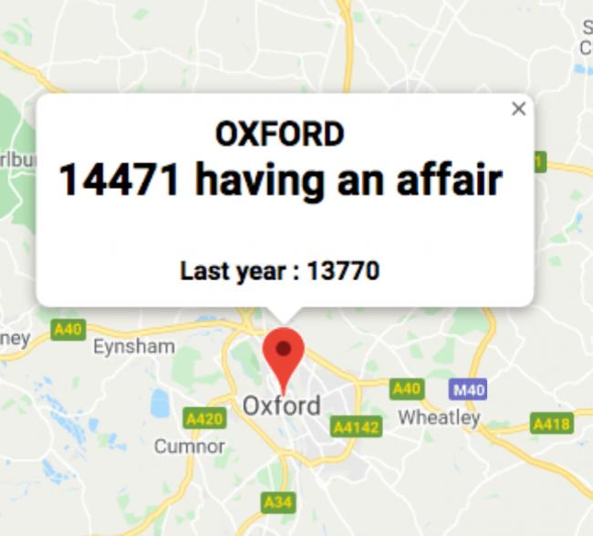 New cheating map shows who is having an affair in Oxford