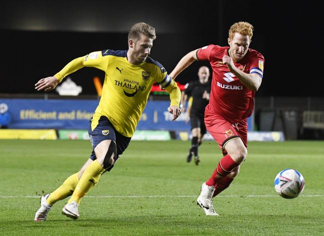 James Henry on the charge in Oxford United's win over MK Dons on Tuesday night   Picture: David Fleming