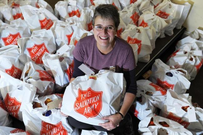 Samantha Johnson with 2018's sorted food bags picture Jon Lewis