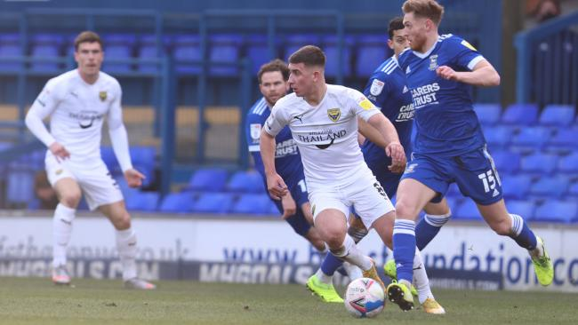 Cameron Brannagan on the ball for Oxford United at Ipswich Town Picture: Steve Edmunds