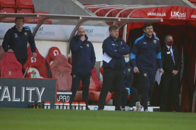 Oxford United boss Karl Robinson (second from right) and his staff on the touchline at Sunderland Picture: Darrell Fisher