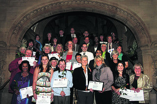 The volunteers with their awards at Oxford Town Hall