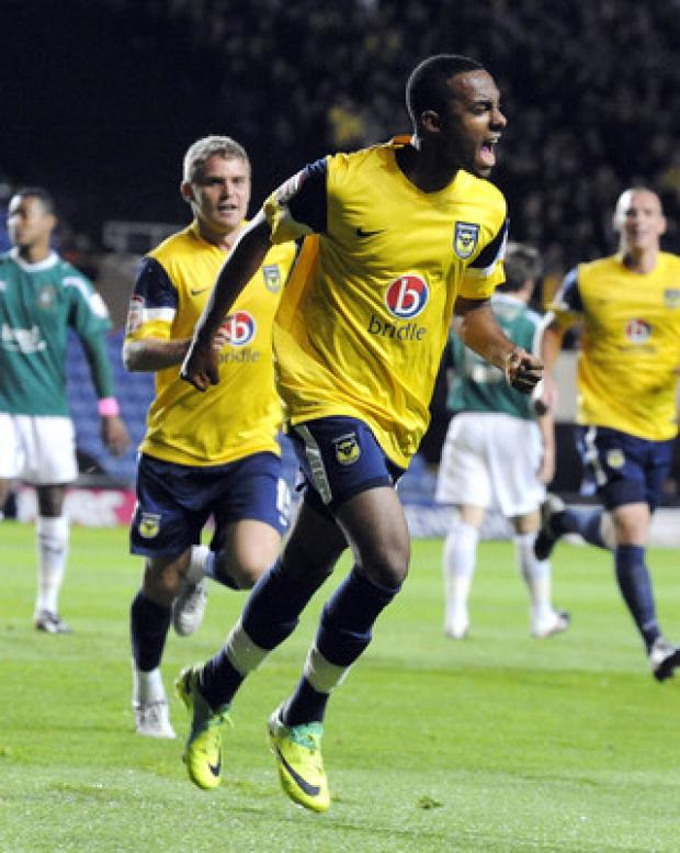 Bicester Advertiser: Oxford United teenager Rob Hall celebrates the first of his double against Plymouth on Tuesday night