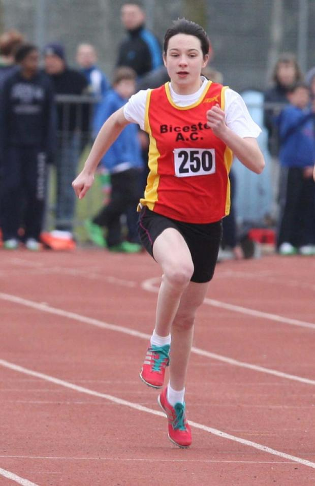 Bicester AC's Emily Benfield on her way to seventh place in the under 17 girls' 200m in the Radley AC open meeting at Tilsley Park, Abingdon