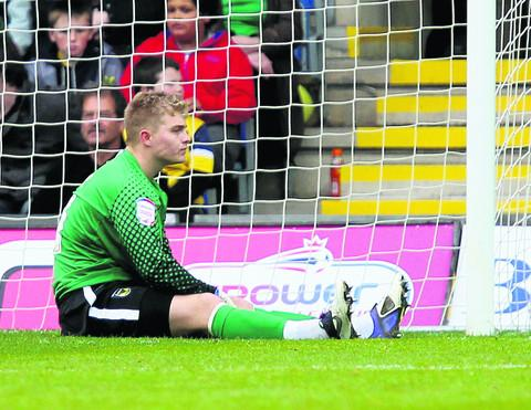 A dejected Connor Ripley reflects after his mistake led to Southend's opening goal at the Kassam Stadium last week. The on-loan keeper has returned to parent club Middlesbrough
