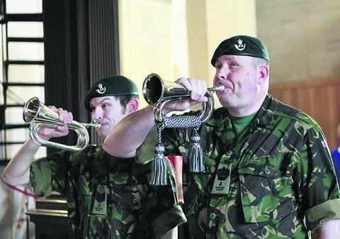 Oxfordshire Army Cadet Force buglers Sergeant Instructor Iain Rae and Band Sergeant Major Ady Higgs. Picture: OX51828 Antony Moore