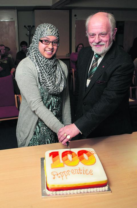 With the county council's 100th apprentice Nazaha Begum, celebrating a drive to take on more young people
