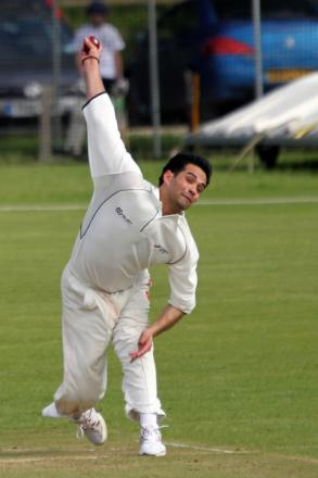 Oxford & Bletchingdon Nondescripts' bowler Ayaz Khan on his way to his ten-wicket haul against Oxford Downs in Division 1 on Saturday