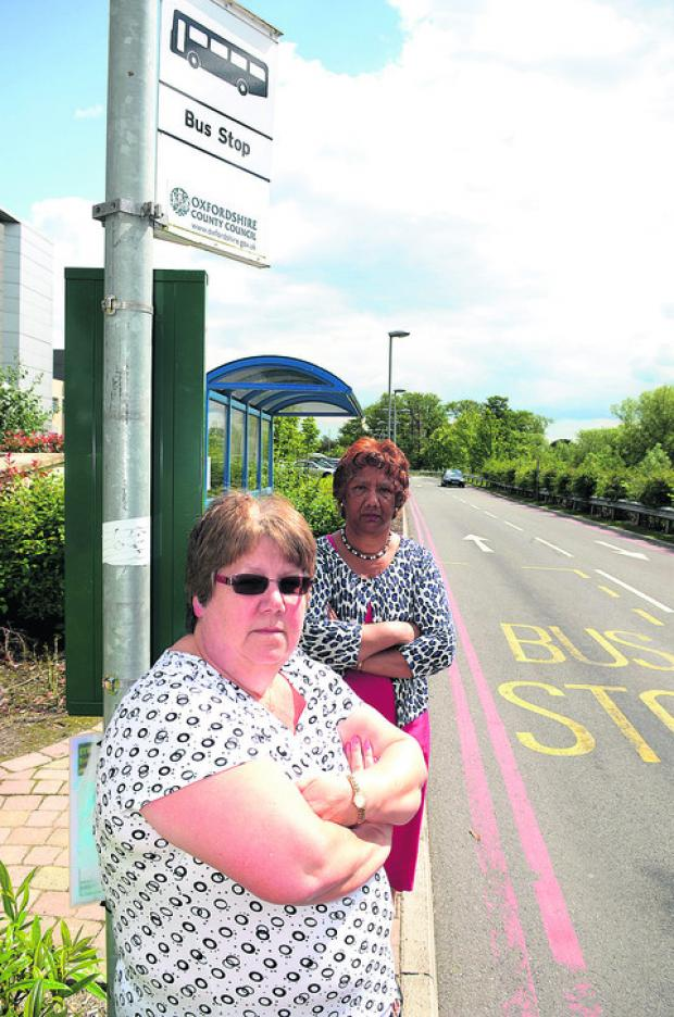 Lynda Slay and Marion Edmonds complained about the rise in bus fares