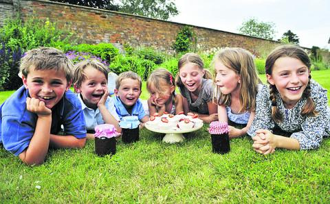 From left, Lorimer Kay, Hamish Newton, Clyde Kay, Charlotte Newton, Izzy Newton, Poppy Kay and Alice Newton are looking forward to Ascott-under-Wychwood's bake-off and produce show on Saturday