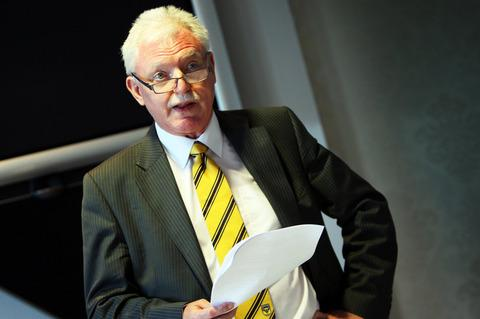New Oxford United chairman Ian Lenagan  addresses the media yesterday