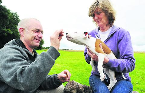 Mark and Annabelle Pottle, of Ardley Rescue Kennels, with puppy Don