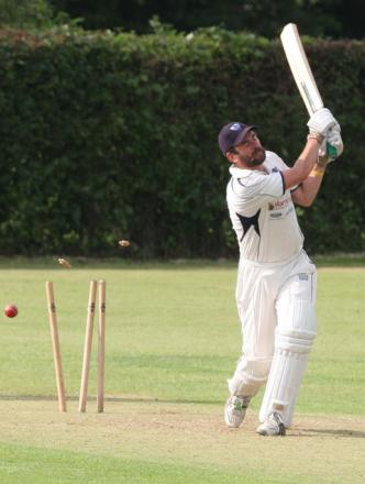 Kidlington's George Spellor is clean bowled during the Steve Dixon Memorial Cup final against Uffington