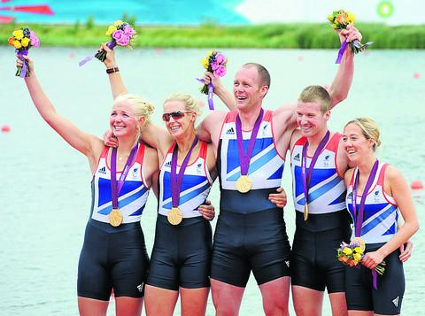 Cox Lily van den Broecke (right) celebrates with her crew of (from left) Pamela Relph, Naomi Riches, David Smith and James Roe