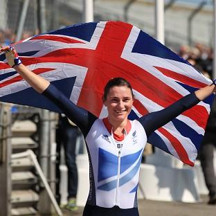 Great Britain's Sarah Storey celebrates after winning the Women's Individual C5 Time Trial at Brands Hatch, Kent