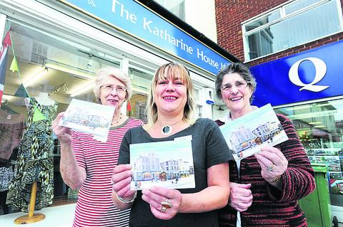 Store manager Jo Spinks, pictured centre, with