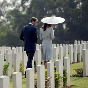 The Duke and the Duchess of Cambridge pay their respects at the Kranji Commonwealth War Memorial in Singapore. (AP/Bryan van der Beek)