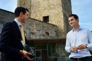 Tom Ellis shows off the Chassenay d'Arce to Oxford Castle Unlocked manager Mike Speight.