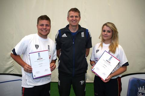 Joe Harris and Rhian Todd with ex-England star Peter Such