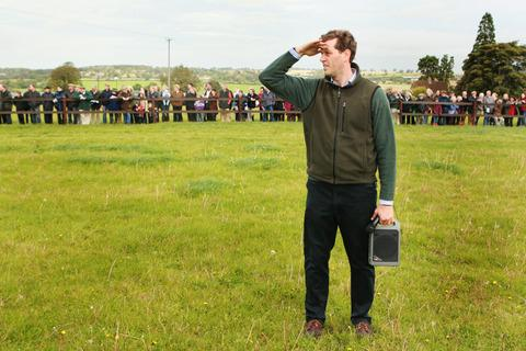 Trainer Charlie Longsdon directs operations in front of a crowd of around 350 at his recent open day