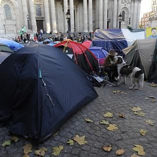 The latest protest at St Paul's Cathedral came as the Occupy group marks the anniversary of its now-dismantled protest camp outside the church