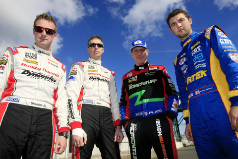 One of the titles title contenders – (from left) Gordon Shedden, Matt Neal, Oxford's Jason Plato or Andrew Jordan –  will be crowned the BTCC champion at Brands Hatch tomorrow