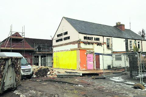 The building being prepared for demolition in Wesley Lane earlier this year