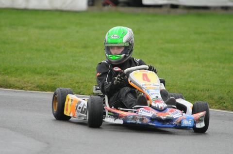 Elliot Harvey on the way to retaining his Forest Edge Kart Club Championship