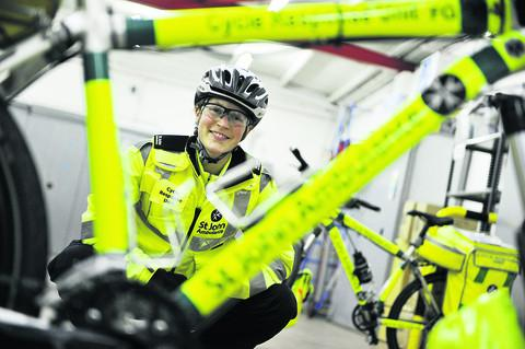 Lucy Bruzzone, unit manager for St John Ambulance cycle responders
