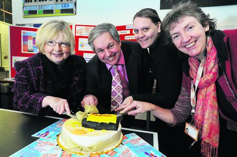 Course leader Linda Mills, Sir Tony Baldry MP, young carer Sarah Churchill and organiser Margaret Madden. Picture: OX5587 Jon Lewis