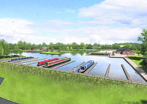 Bicester Advertiser: An artist's impression of the plans for a canal marina at Yarnton